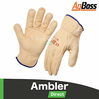 AgBoss 6 Pack Premium Leather Cowhide Riggers Gloves Beige Sizes 8-12