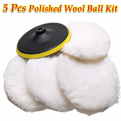 5pcs 7'' Wool Buffing Pad Detailing Polishing Polisher Buffer Pad Car Polisher