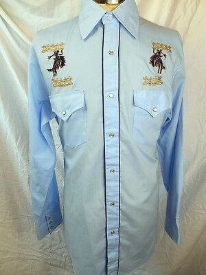 Vintage 70s Blue Embroidered Bar B Western Cowboy Shirt Pearl Snaps Rodeo M