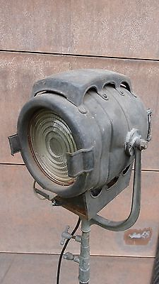 Vintage Theater Stage Light on Rolling Telescoping Stand Steampunk Play Film