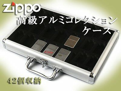 Zippo Aluminum Collection Case Acrylic panel 42 piece Oil Lighter From Japan