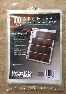 Print File Archival Preservers, 120-4B, 100 New Sheets