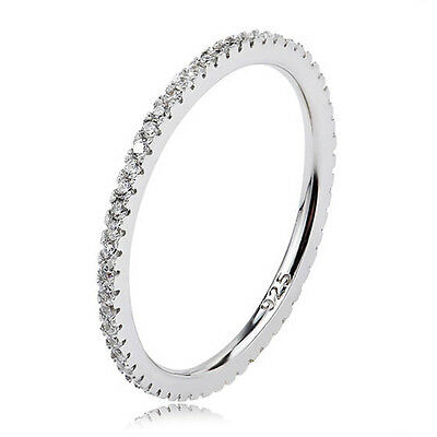 STACKING Ring 925 Solid Sterling Silver White Pave Stackable Band Size 7