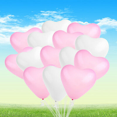 50pcs Heart Shaped Balloon for Wedding Birthday Party Decoration White Pink