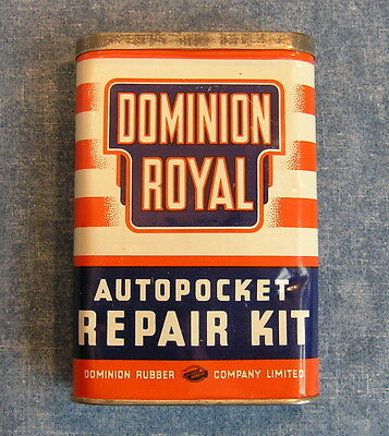 Dominion Royal Autopocket Tire Repair Kit * Metal Tin Made In Canada * Xlnt