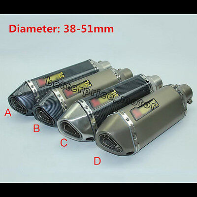 51mm Universal Motorcycle Exhaust Muffler pipe With Removable DB Killer Silencer