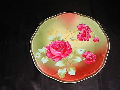 Mignon ZS & Co Bavaria Dark Pink Roses Green Leaves  Hand Painted Plate Signed