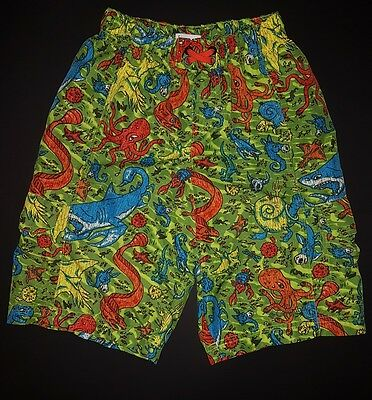 Columbia Boys Swim Shorts Size 6/7  Underwater Creatures Cute Green swimsuit