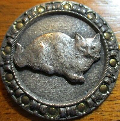 "1940s FRENCH METAL~LG ""CAT ESCUTCHEON"" GOLD RIVETS ON RIM~VINTAGE PICTURE BUTTON"