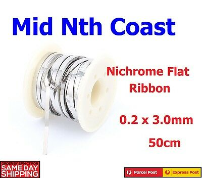 NiChrome Flat Resistance Wire 0.2 x 3mm Wide for Heating Elements 50cm