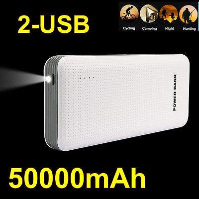 AU 50000mAh Power Bank 2 USB Portable External Battery Pack For Iphone 5/6/6S