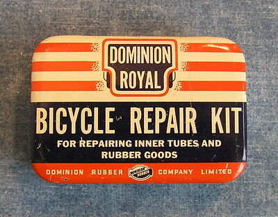 Dominion Royal Bicycle Repair Kit * Fine Vintage All Metal Tin * Can Bike Tubes