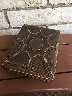 Antique Vintage Victorian Brown Embossed Photo Album 44 pages