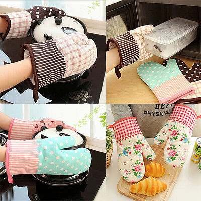 1x Cute Kitchen Cooking Microwave Oven Mitt Insulated Glove Cotton Baking Tool