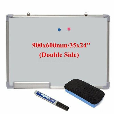 """36""""x24"""" Double Side Magnetic Writing Whiteboard Dry Erase Board Office W/ Eraser"""