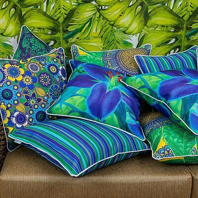 Blue and Green Pattern Indoor/Outdoor Cushion Cover in various sizes -Cover only