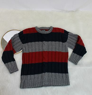 Boys The Children's Place Cable knit Sweater Size Large 10-12 Navy Red Gray