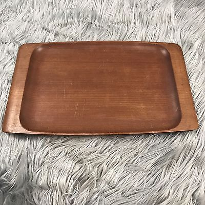 Vintage Wood Serving Tray Mid Century Brown Rectangular Decor Wine Cheese