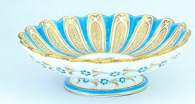 *fine* Davenport Longport Scalloped Turquoise & Gold 1800's Porcelain Compote