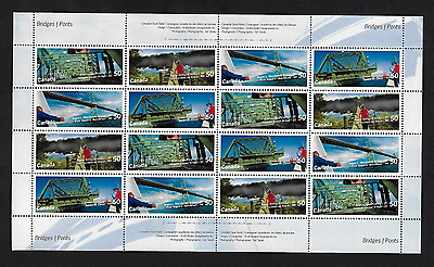 Canada Stamps — Full Pane of 16 — Canadian Bridges #2100-2103 — MNH