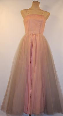 SMALL 1950's VINTAGE LONG DRESS. PINK & GREY NET AND TAFFETA.