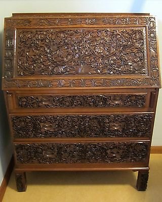 Ornamental Carved Timber / Wood Writing Bureau Fold down desk with drawers