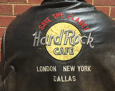 Vintage Hard Rock Cafe Leather Bomber Jacket ORIGINAL 1980's Jacket SIZE XL