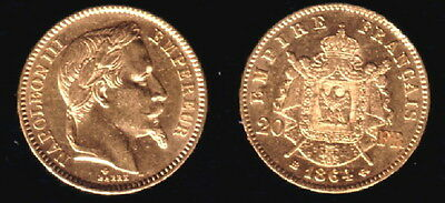 1864-BB France Gold 20 Francs Napoleon III classic  LUSTROUS Napoleon Gold Coin