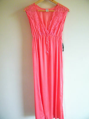 Vintage retro pink 'Greta' maxi nightgown with lace bust 12 - $10 CLEARANCE!!