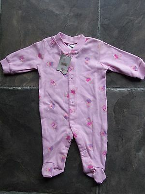 BNWT Baby Girl's Pink Fairies Cotton Knit Coverall/Romper/Sleeper Size 0000