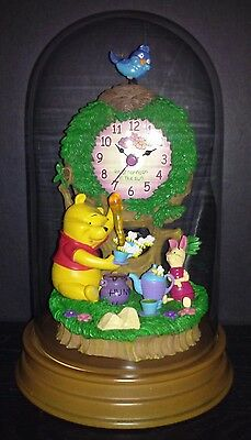Disney Winnie the Pooh and Piglet Anniversary Clock W/ Glass Dome & Wooden Base