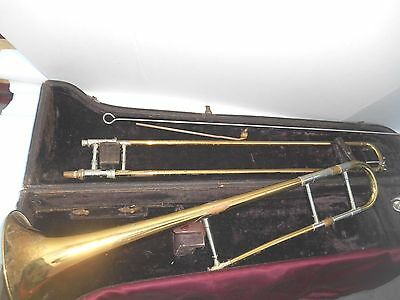 Vintage OLDS SPECIAL FULLERTON  CALIF. Trombone with Wood Cover Case