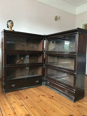 Antique / Oak Globe Wernicke Barristers Corner Bookcases