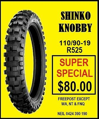 Shinko 110/90-19 Knobby Mx Tyre New Special Clearance Price Free Post Bayswater