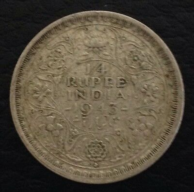 1943 India,Indian George VI Quarter 1/4 Rupee Silver Coin