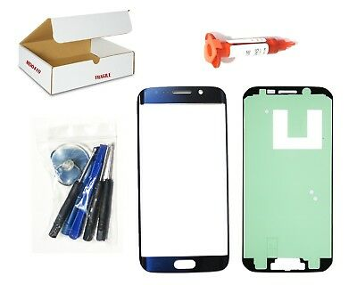 Black Sapphire Blue Front Glass Lens Replacement LCD Repair Fit Galaxy S6 EDGE