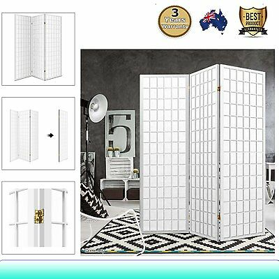 3 Panel Room Divider Solid Wooden Timber Privacy Fold Screen Stand Wide White AU