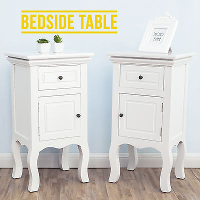 French Retro White Bedside Table Cabinet Chest of Drawer Nightstand Furniture