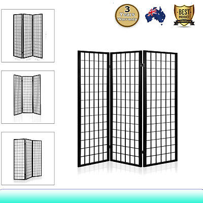 3 Panel Room Divider Bedroom Solid Wooden Timber Privacy Fold Screen Stand Black