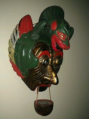 Polychrome Antique NOH THEATER MASK Chinese Or Japanese Signed