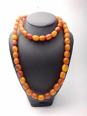 ANTIQUE VINTAGE NATURAL AMBER BUTTERSCOTCH BEADS LONG NECKLACE 95g
