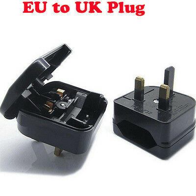 Universal UK Travel Adapter European EURO EU 2 To 3 Pin Main Plug Converter Fuse