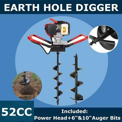 """52cc Power Engine 2.3HP Gas Powered Post Hole Digger 6"""" + 10"""" Auger Bits"""