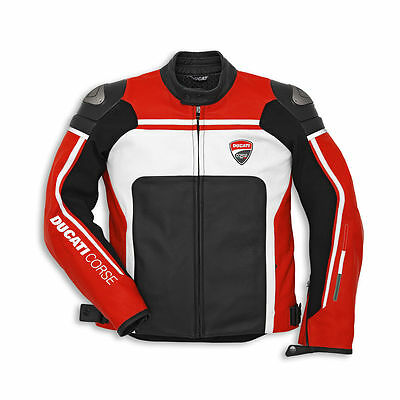 Ducati CORSE Red and White Leather Motorcycle Jacket