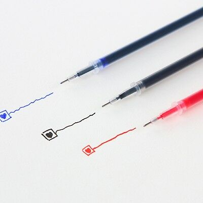 10Pcs Gel Ink Ballpoint Pen Refill Stationery Supply 0.38mm 0.5mm Black Blue Red