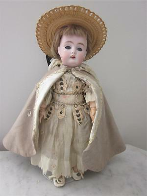 "Fully Jointed 10"" German Bisque Kestner 174 Doll, Original Clothes"