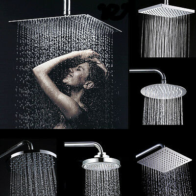 """8"""" Chrome Stainless Steel Water Rainfall Overhead Round Square Large Shower Head"""