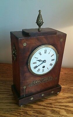 CHARACTERFUL GEORGIAN TIMEPIECE IN BRASS INLAID & DECORATED ROSEWOOD CASE c1810