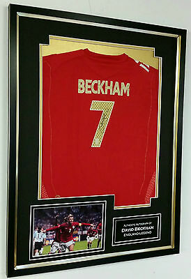 *** Rare DAVID BECKHAM of England Signed Shirt Display *** AFTAL DEALER APPROVED
