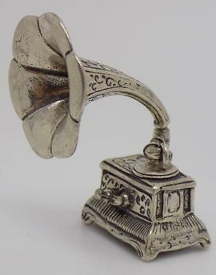 19g Vintage Solid Silver Gramophone Miniature - Stamped - Made in Italy